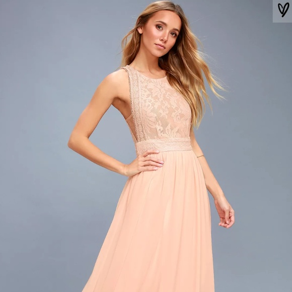 Light Pink Lace Dress Longmaxi
